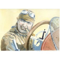 Famous Racer Barney Oldfield Art Print by Giovanni Casander