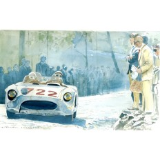 Mercedes Benz 300 SLR Art Print by Giovanni Casander