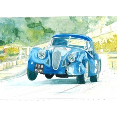 Jaguar XK120 Art Print by Giovanni Casander