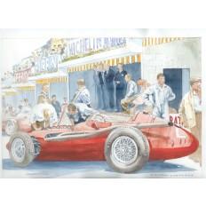 Maserati 250 F (3) Art Print by Giovanni Casander