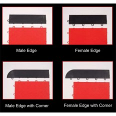 Park Smart Style Tile Interlocking Floor Tiles - Black Edging with Corner